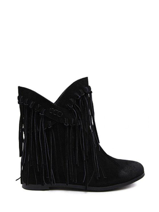 outfit Tassel Solid Color Cross Straps Ankle Boots - BLACK 35