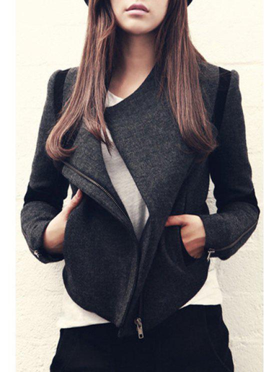 latest Color Block Zip-Up Wool Jacket - DEEP GRAY S