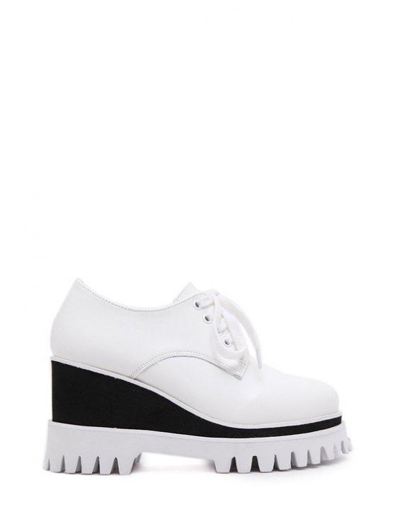 online Color Matching Lace-Up Platform Shoes - WHITE 35