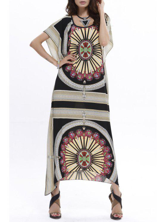 latest Geometric Print Scoop Neck Short Sleeves Dress - BLACK ONE SIZE(FIT SIZE XS TO M)