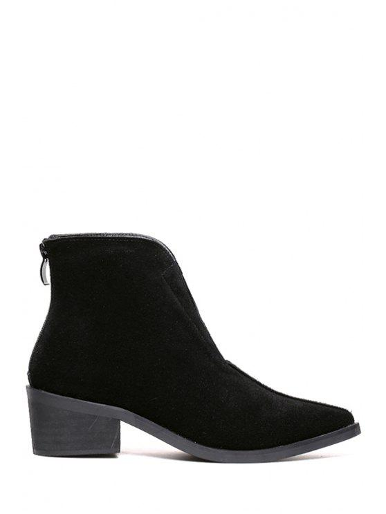 sale Pointed Toe Pure Color Suede Short Boots - BLACK 35