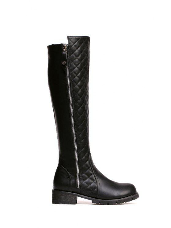 outfit Argyle Zipper Black Knee-High Boots - BLACK 35