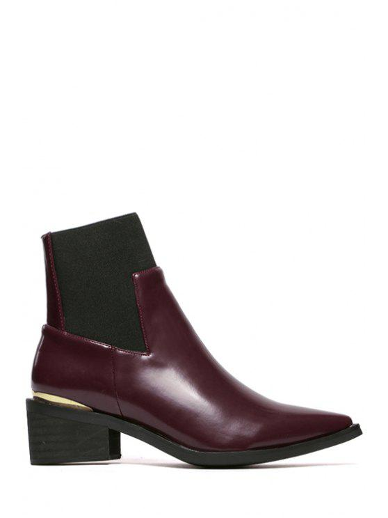 online Splice Metal Pointed Toe Short Boots - CLARET 38