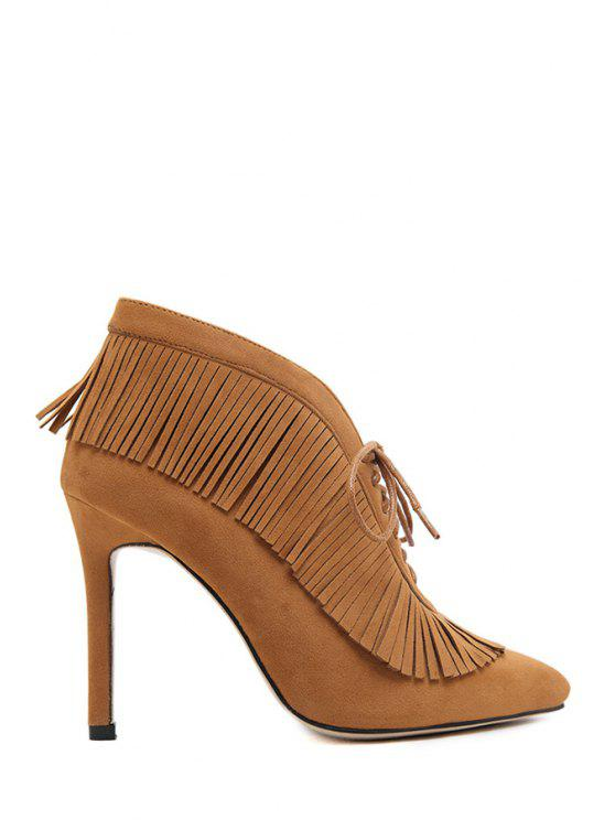 hot Fringe Lace-Up High Heel Boots - BROWN 35