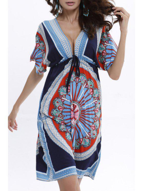 unique Print Plunging Neck Short Sleeve Dress - BLUE AND BLACK ONE SIZE(FIT SIZE XS TO M)