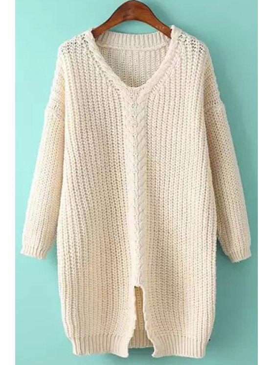 affordable Cable Knit Front Slit Sweater - WHITE ONE SIZE(FIT SIZE XS TO M)