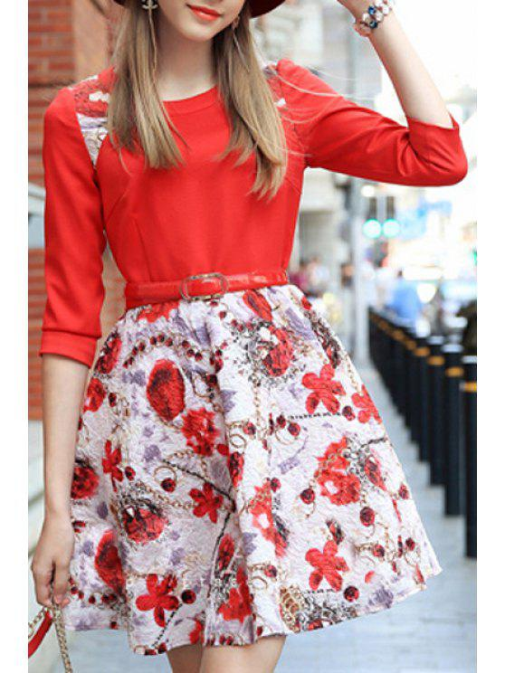 sale Floral Spliced 3/4 Sleeve Flare Dress - RED S