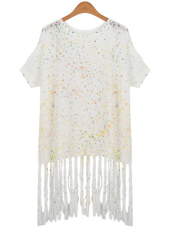 latest Tassels Printed Round Collar Batwing Sleeves Sweater - WHITE ONE SIZE(FIT SIZE XS TO M)