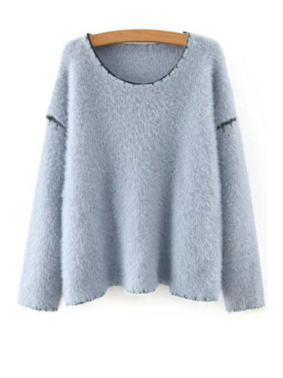 outfit Long Sleeve Black Hem Jumper - LIGHT BLUE ONE SIZE(FIT SIZE XS TO M)