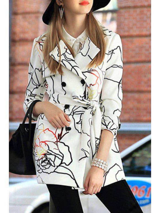 ladies Print Lapel Neck 3/4 Sleeve Coat - WHITE S