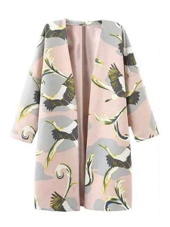 affordable 3/4 Sleeve Bird Print Trench Coat - PINK M