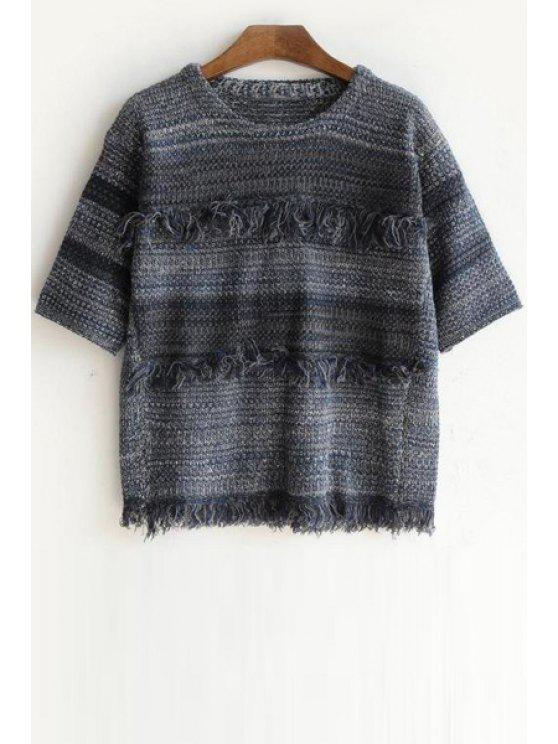 unique Half Sleeve Fringed Jumper - GRAY ONE SIZE(FIT SIZE XS TO M)