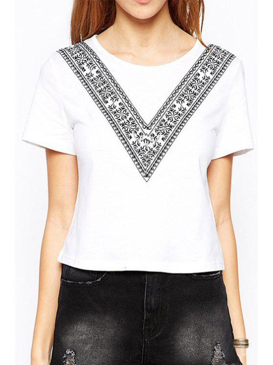 fashion V Letter Print Round Collar Short Sleeves T-Shirt - WHITE XS
