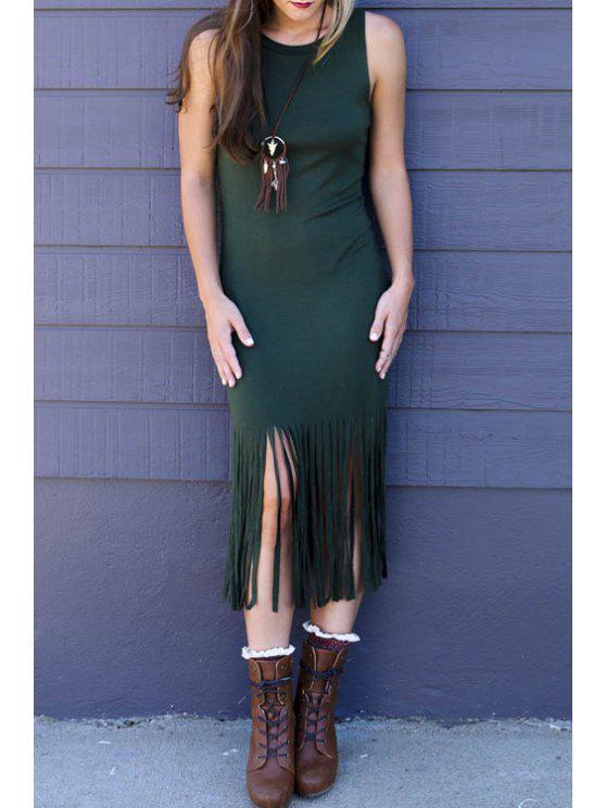 trendy Tassels Sleeveless Bodycon Dress - GREEN XL