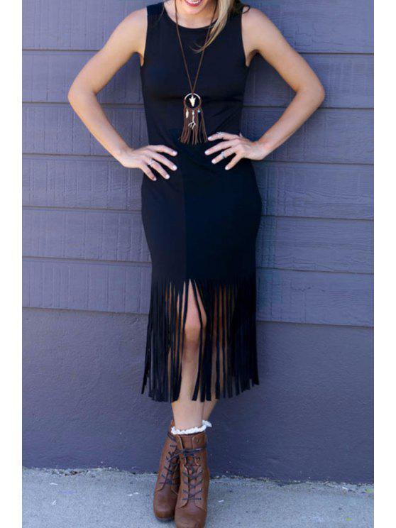 fancy Tassels Sleeveless Bodycon Dress - BLACK L