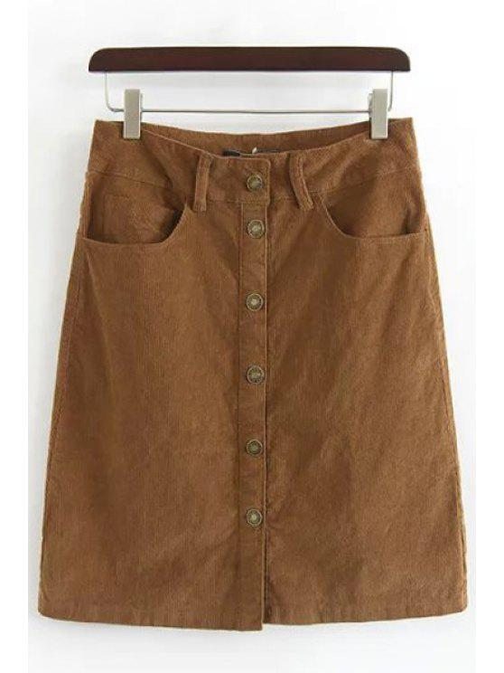 shops Single-Breasted A-Line Corduroy Skirt - BROWN S