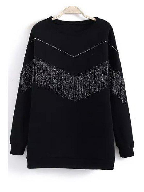 womens Fringed Wavy Stripe Sweatshirt - BLACK ONE SIZE(FIT SIZE XS TO M)