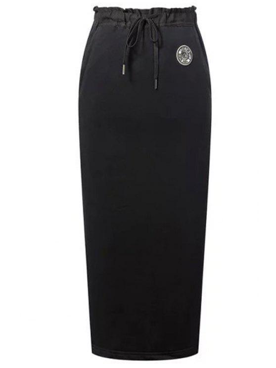 best Back Slit Pocket Design Long Skirt - BLACK S