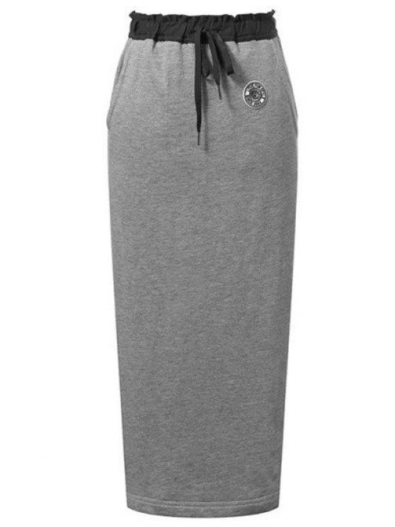fashion Back Slit Pocket Design Long Skirt - GRAY M
