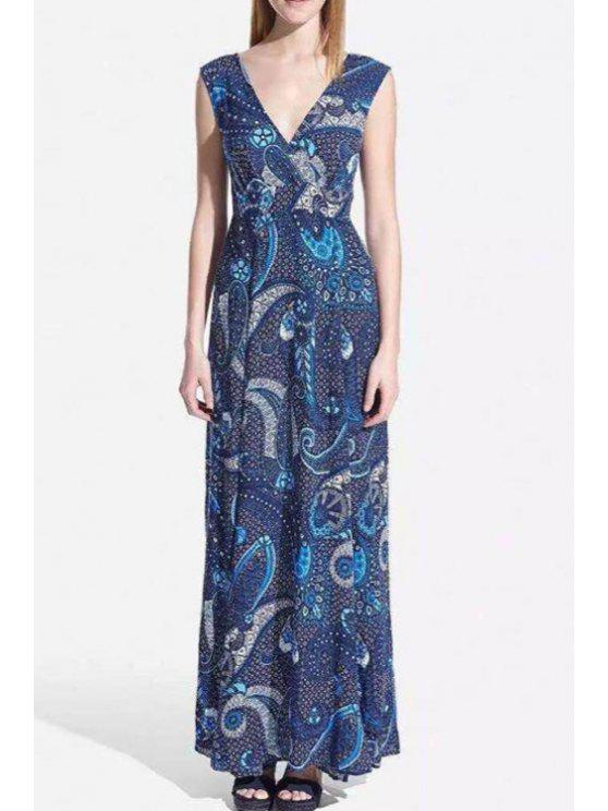 affordable Sleeveless Paisley Print Chiffon Dress - BLUE L