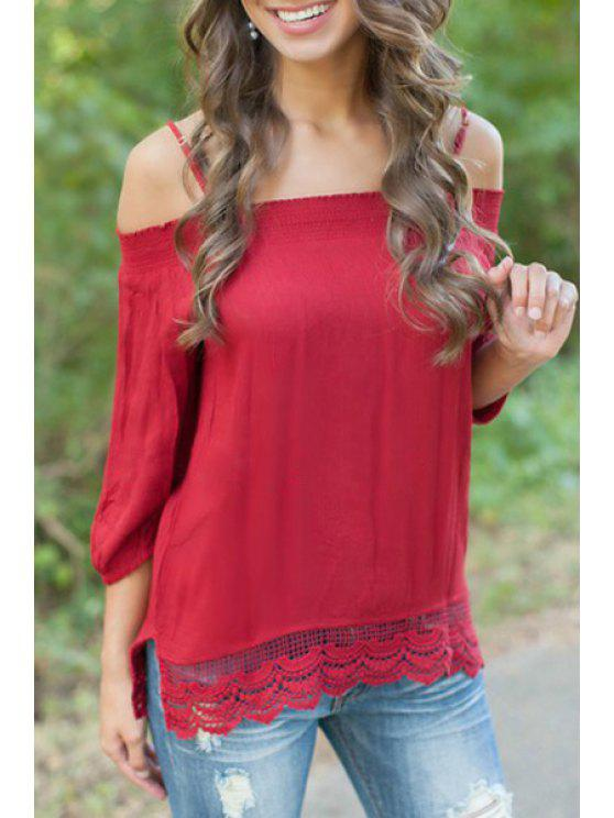 womens Lace Splicing Slash Neck Straps Solid Color T-Shirt - RED S