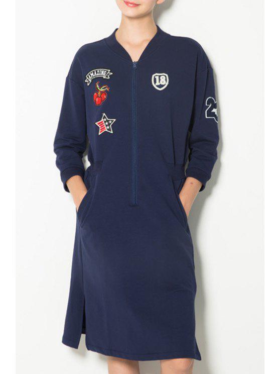 shop Long Sleeves Pocket Applique Patch Sweatshirt Dress - CADETBLUE XS