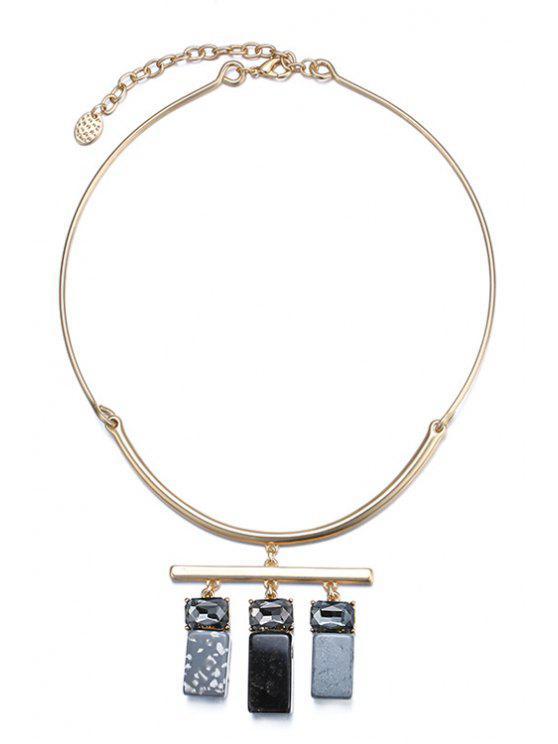 online Rhinestone Square Pendant Necklace For Women - BLACK + GLODEN