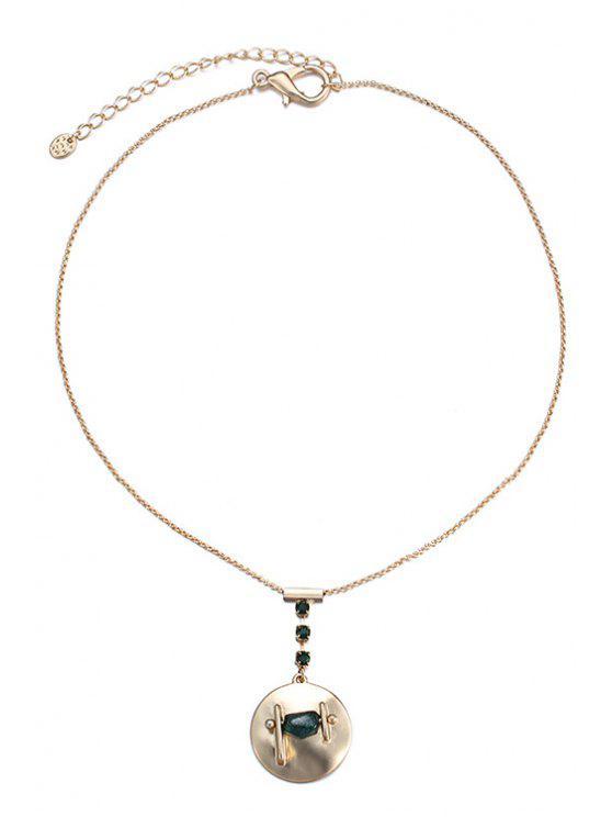 Collier avec pendentif en strass ronde pour les femmes - Or