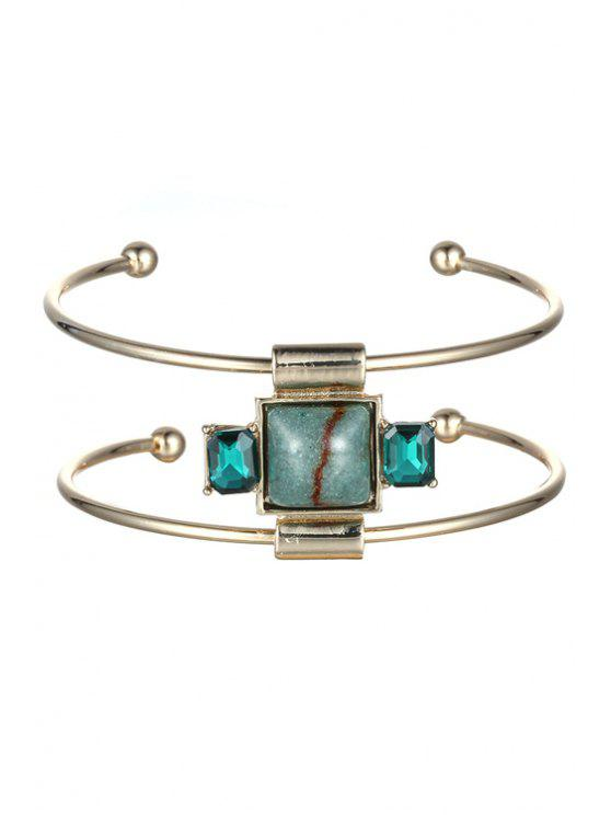 chic Faux Gemstone Square Double-Layered Cuff Bracelet - CHAMPAGNE GOLD
