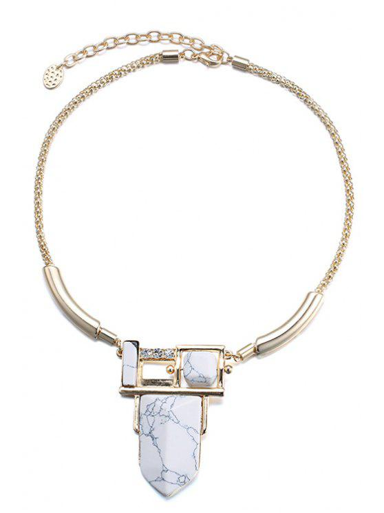 hot Rhinestone White Turquoise Necklace For Women - GOLDEN