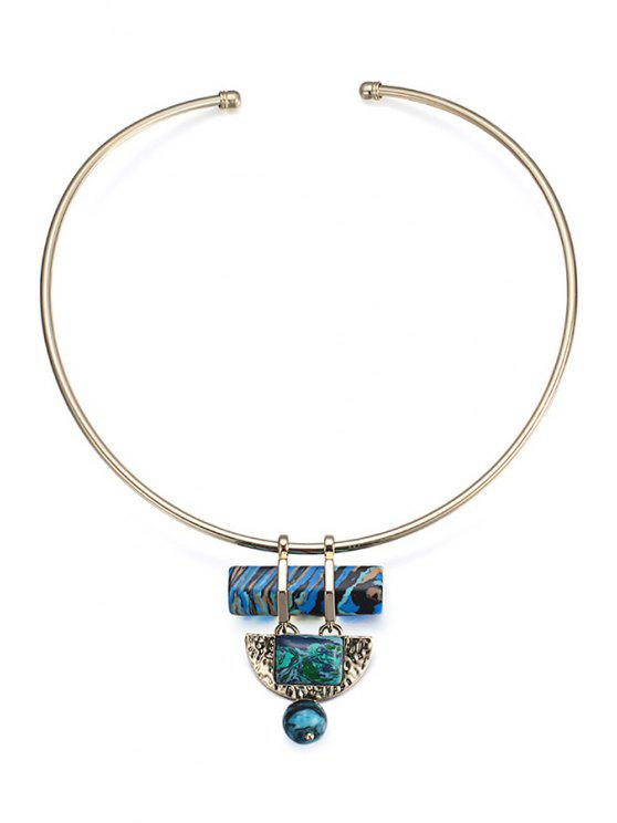outfit Colored Turquoise Semi-Circle Ball Torque For Women - GOLDEN