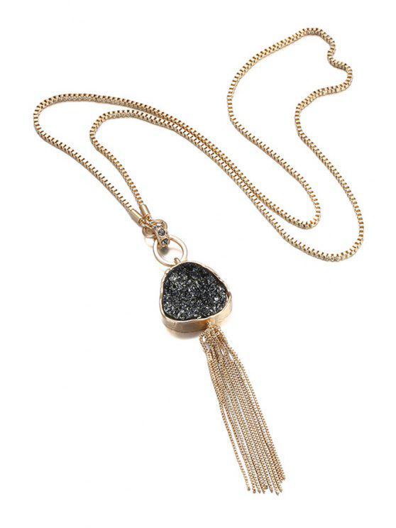 online Chain Tassel Pendant Necklace For Women - BLACK + GLODEN