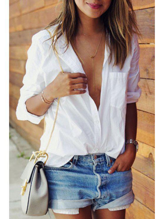 buy Long Sleeve White Shirt - WHITE S