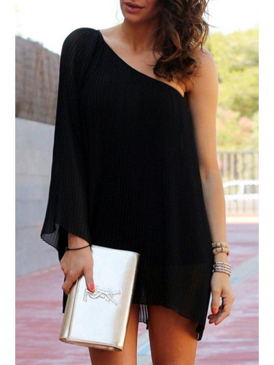fashion Black Oblique Shoulder Long Sleeve Dress - BLACK S
