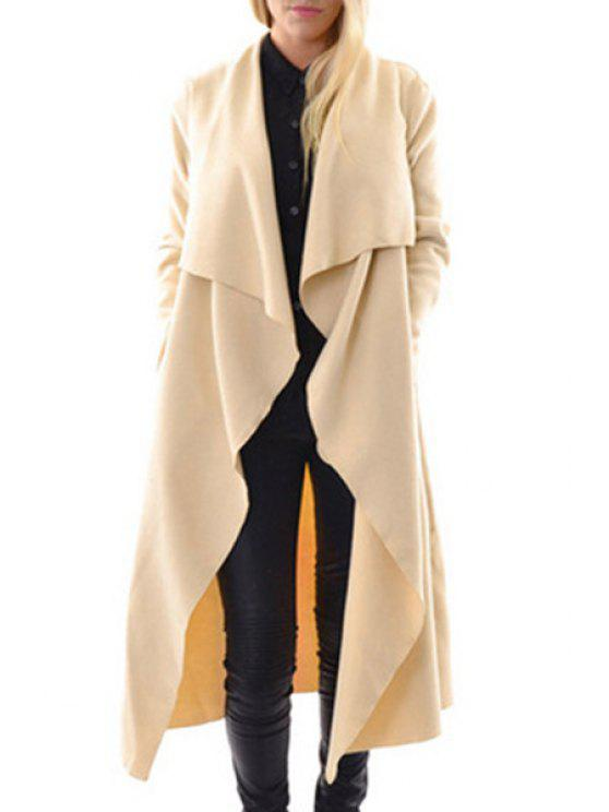 new Turn Down Collar Pure Color Maxi Coat - APRICOT S