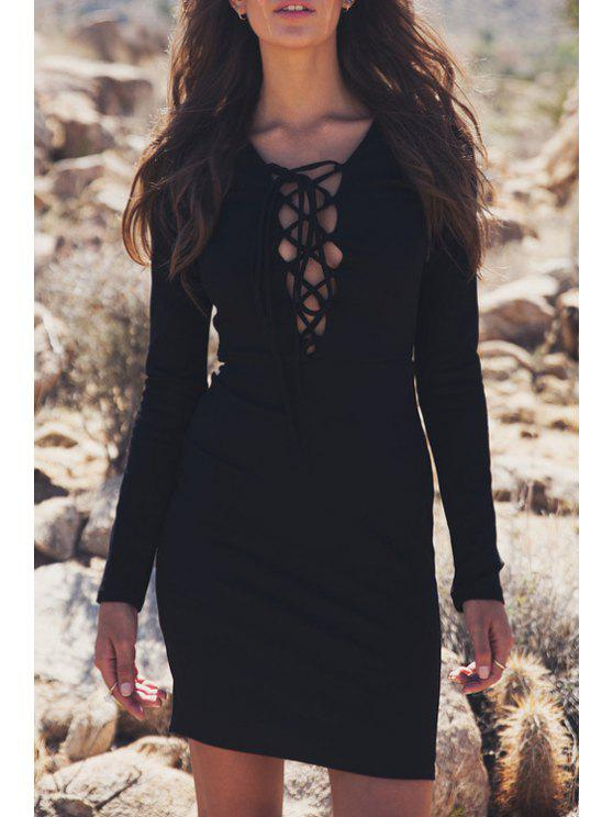 chic Plunging Neck Lace-Up Bodycon Dress - BLACK M