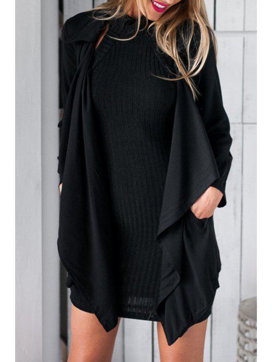 sale Black Self Tie Turn Down Collar Trench Coat - BLACK M