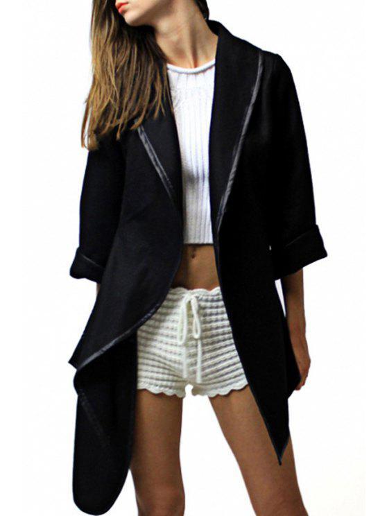 womens Irregular Hem Turn Down Collar Long Sleeve Coat - BLACK M