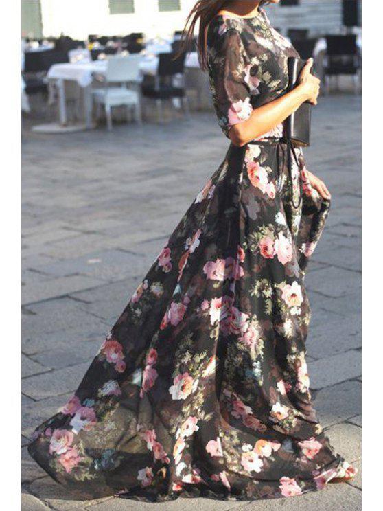 women Full Flower Print Long Sleeve Maxi Dress - BLACK S