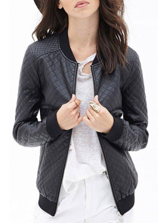 new PU Leather Long Sleeves Black Argyle Pattern Jacket - BLACK XS
