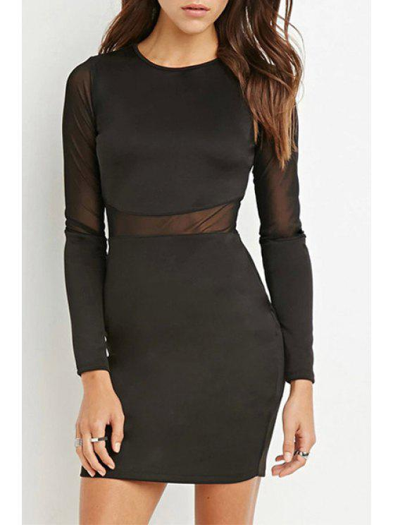 affordable See-Through Voile Spliced Long Sleeves Black Dress - BLACK XS