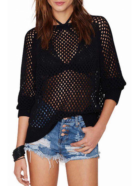 women's Long Sleeve See-Through Knitwear - BLACK XS
