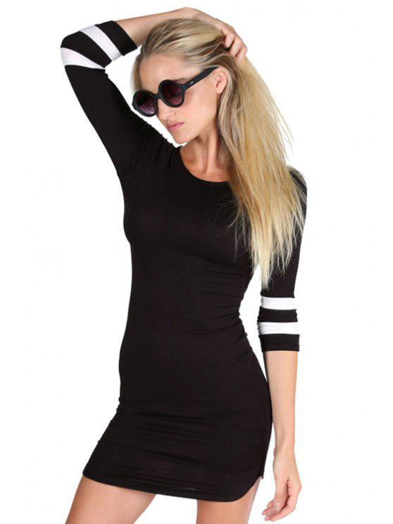 women 3/4 Sleeve Striped Bodycon Dress - BLACK XL