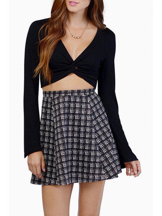 lady Bell Sleeve Front Twist Crop Top - BLACK XS
