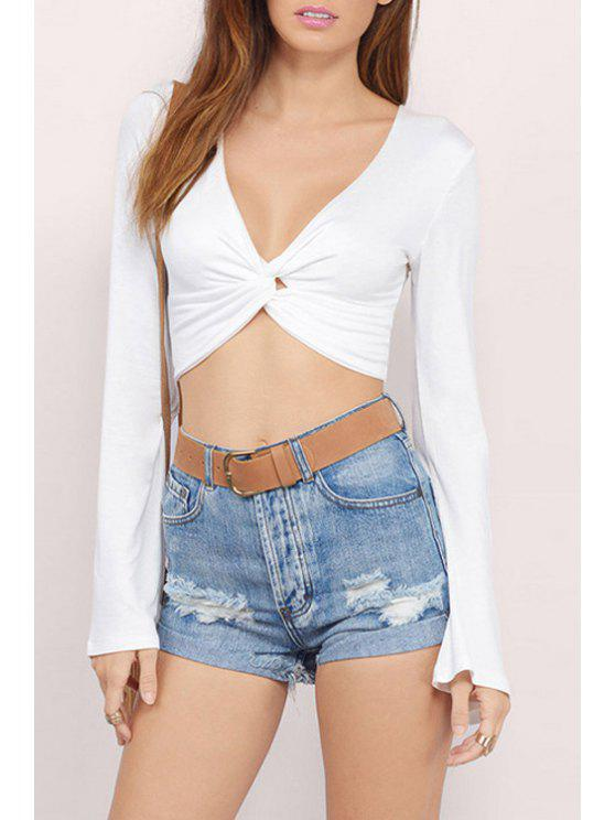 80f1cbbdc0cd6 2018 Bell Sleeve Front Twist Crop Top In WHITE 2XL