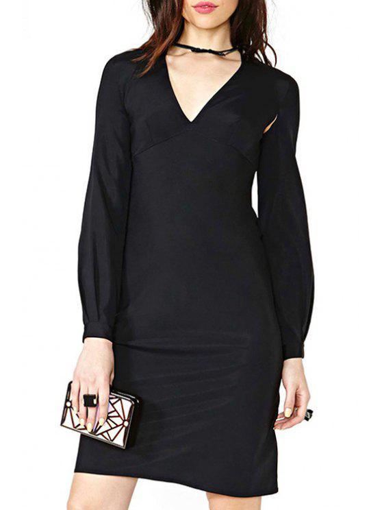 unique Lantern Sleeve High-Waisted Prom Dress - BLACK XS