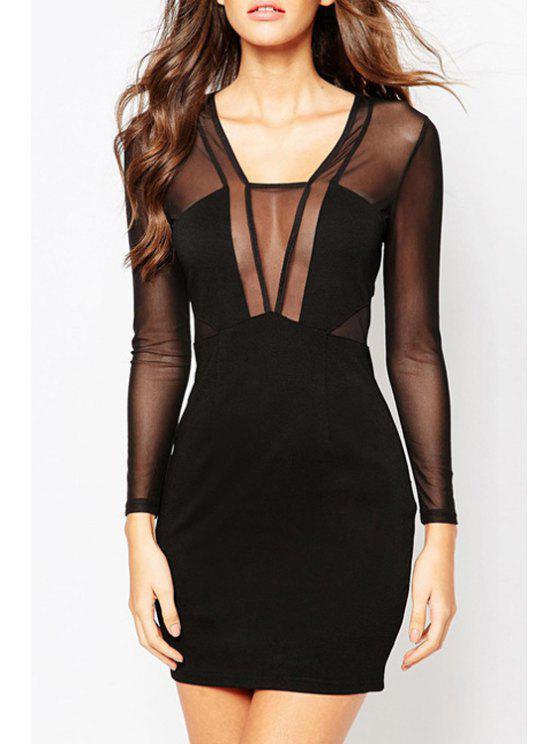 online See-Through Mesh Design Club Dress - BLACK XS