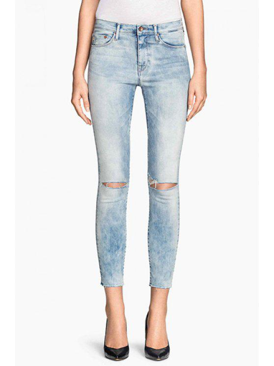 outfits Bleach Wash Ripped Pencil Jeans - BLUE L