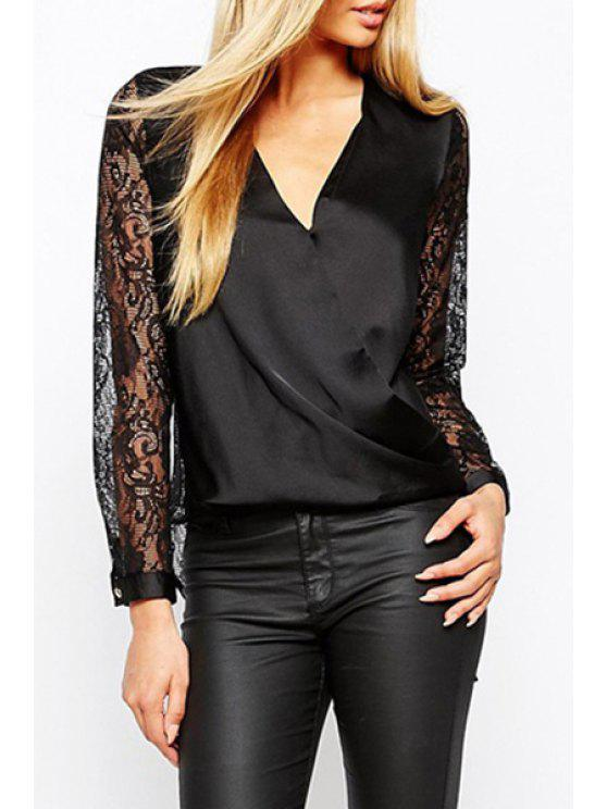 hot Lace Patchwork Dovetail Blouse - BLACK XS