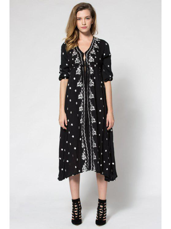 online Tiny Floral Embroidery Tie-Up 3/4 Sleeve Dress - BLACK S